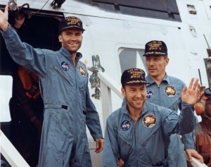 Apollo 13 Crew, after their safe return to Earth, on board the USS Iwo Jima. Haise, Lovell, Swigert (L-R).