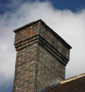 Bees swarming around the chimney